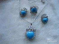 Wholesale Deluxe blue Heart Jade Pendant Earring Ring set