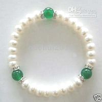Wholesale Elegant White Shell Pearl amp Green Jade Stretch Bracelet