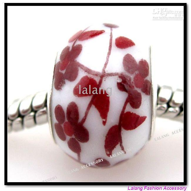 Circle ceramic beads flower - New Ceramic Porcelain Flower Carved Charms Bead Fit European Bracelet Handcraft