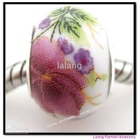 Wholesale New Style Flower Ceramic Charms Big Hole Beads Fit European Bracelet Finding