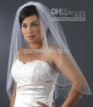 Wholesale Scalloped Edge Bridal Veil - Spring 2016 Scalloped Edged Wedding Veils Crystal Beaded White Bridal Veils Mantilla with Comb High Quality