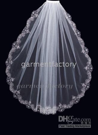 Wholesale white ivory short wedding veils luxery beaded lace edge one layer real image bridal veil tulle mantilla