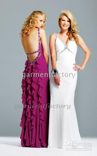 Wholesale sexy back V neck full length chiffon celebrity dresses evening dresses prom dress