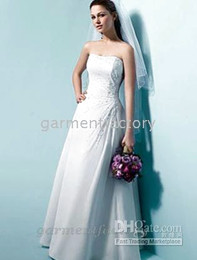 Wholesale informal wedding dresses strapless floor length chiffon over satin bridal gown bride dresses