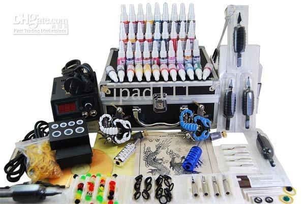 Wholesale 2 guns professional tattoo kit machine complete power needle ink grip