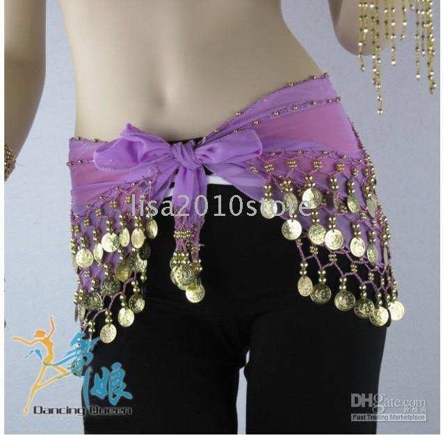 Wholesale 5X Mixed Colors Handmade Belly Dance Hip Scarf Coin Wrap Belt Skirt Hipscarf Gold Coins
