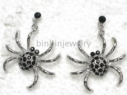 Wholesale Crystal Rhinestone Halloween Spider Dangle & Chandelier Earrings A188