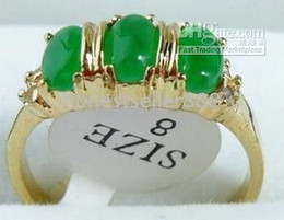 WONDERFUL 3 BEAD INLAY GREEN JADE RING SIZE :7 8 9