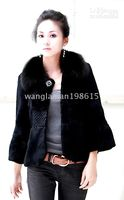 Wholesale 020 rabbit coat jacket outwear with fox collar with hood fur