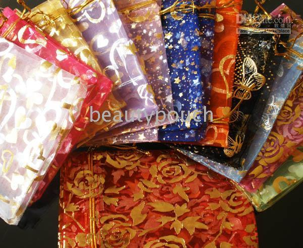 Wholesale 200 x6 Flare Wedding Accessories Multicolor Organza Jewelry Gift Pouch Days Return Guarantee