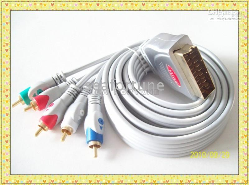 Wholesale 1 Metre RCA Component Audio to Scart In Cable Scart to YpbPr with M cables Drop Shipping