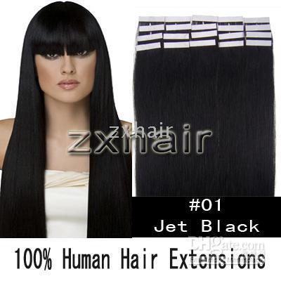 Wholesale 18 quot tape skin human hair extensions dark brown g set