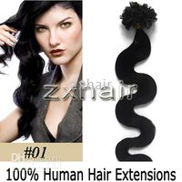 "100S 20"" body wave Nail tip hair Human Hair Extensions ..."