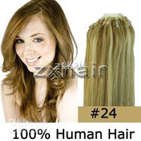 "100S 18"" 20"" remy Micro rings loop hair Human Hair..."