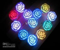 Wholesale 7 Changing Color LED Floating Rose Flower Night Light Candle Lights