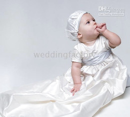 Lovely Simple White Ivory Champagne Short Sleeves Taffeta Long Baby First Communion Birthday Party Clothing Christening Gowns Cheap