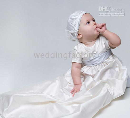 Wholesale Lovely Simple White Ivory Champagne Short Sleeves Taffeta Long Baby First Communion Birthday Party Clothing Christening Gowns Cheap