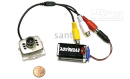 Wholesale Mini Cmos camera IR CCTV Color Video Audio with Leds mic security surveillace pc pc