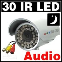 Wholesale 30 LED Waterproof Outdoor IR Night vision CCTV Camera wit Audio surveillance security pc pc