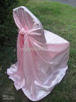 Wholesale Pink satin chair bag self tie satin chair cover