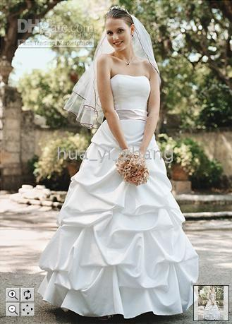 Floor-length accent style - Custom Made Wedding Dresses Satin Pick up with Ribbon Accent and No Train Style T9309