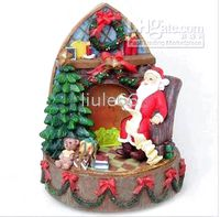 Wholesale Merry Xmas resin light music box ornaments Santa Claus Christmas gift Christmas gift