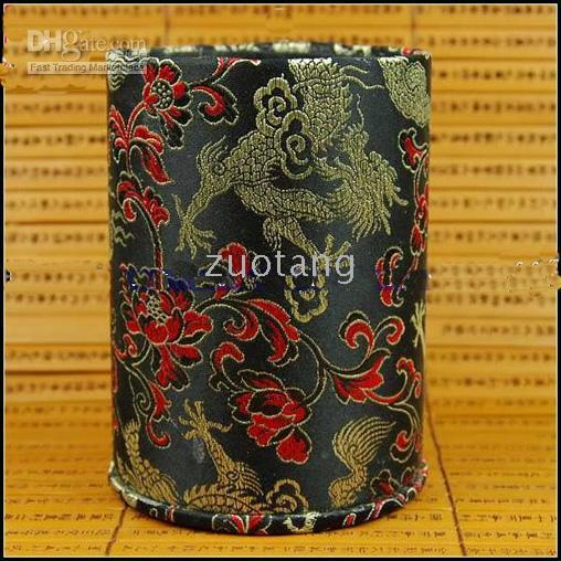 Red   Unique Brush Pot Pen Case Fashion China Silk Fabric Colorful Gorgeous Pencil Case 15pcs mix Free