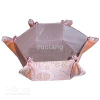 Wholesale Pink Christmas Candy Baskets Foldable Storage Basket Cube Silk Fabric Container Diameter x8x3 inch Free