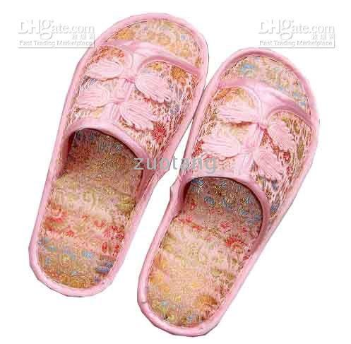 Wholesale Indoor Men s Women s Slippers Hotel Fashion Silk Chinese knot the Slipper pair