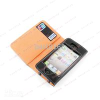 Wholesale New Leather flip Wallet pouch Case Cover purse cases pouches For Iphone G th S Iphone4S ID credit card slot