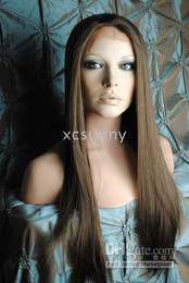 Wholesale 2011 New Gorgeous quot Silky Straight Medium Brown Heat Friendly Synthetic Lace Front Hair Wigs