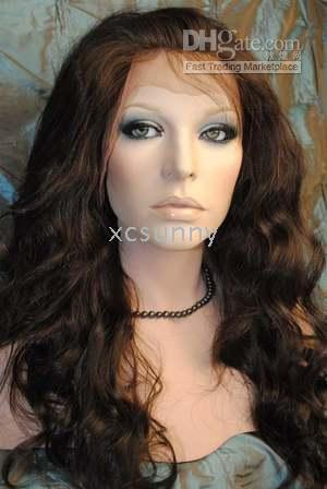Wholesale New Gorgeous quot quot Heat Friendly Synthetic Lace Front Chocolate Brown Body Wave Hair Wigs