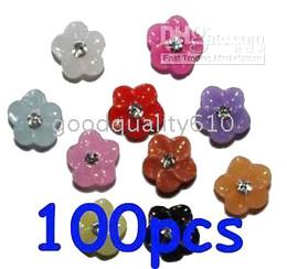 500pcs Mixed colors Acrylic Flower Rhinestones Nail Art+100 Flower slices