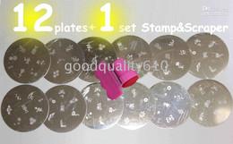 12 Stamping Nail Art Plates + Stamp & Scraper+ Free gift