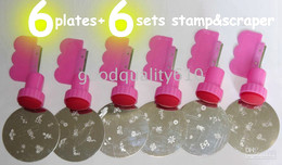 Wholesale 6 Stamping Nail Art Plates set Stamp Scraper film slices Free ship