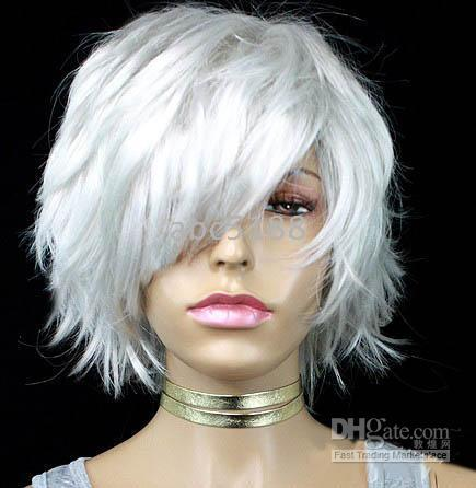 Wholesale Short Silver White Cosplay Party Wig of BOBO hair in party