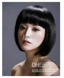 Wholesale Bob Hairstyle Short Black Color Synthetical Hair Women s Full wig wigs N
