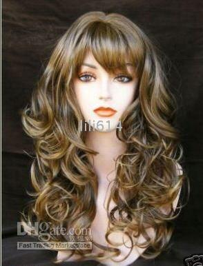 European Wigs hair wigs wholesale - 22 Inches Long Mixed color wavy Synthetic wigs hair wig european wigs High quality wigs