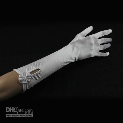 Wholesale Satin Wedding Dress Gloves White pair J01076