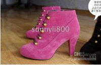 Ankle Boots Snow Boots Women Wholesale New 2012 Hot Sale blue Double-Breasted button Suede pumps ankle Boots US5-8.5