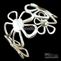 Wholesale NEW STERLING SILVER FOUR BIG FLOWERS WIDE CUFF BANGLE BRACELETS JEWELRY
