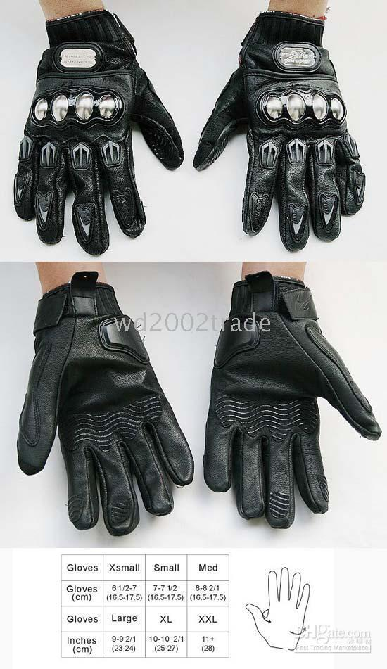 leather motorcycle apparel - PRO BIKER Titanium leather racing gloves Motorcycle GLOVES Motorcycle Apparel