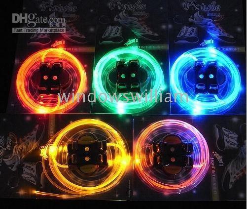 Wholesale 20pcs hot gift Fiber Optic LED Shoe LACES LASER SHOELACES NEON GLOW IN THE DARK STICK LED gadgets