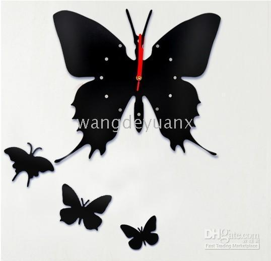 Wholesale Luo Hasi DIY butterfly wall clock wall clock fashion creative personality red or black
