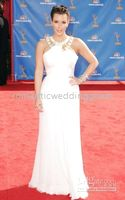 Wholesale 2010 Emmy Awards Kim Kardashian Red Carpet White Chiffon Celebrity Dresses Evening Dress