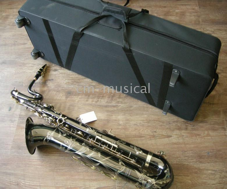 baritone cases - Black Nickel Baritone Saxophone with case Woodwind