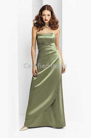 floor length satin dress - A line Strapless Pleated Floor Length Satin Bridesmaid Dresses Dress