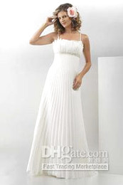 Wholesale Empire Spaghetti Straps Floor Length Satin amp Chiffon Informal Wedding Dress