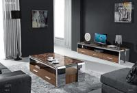 Wholesale marble top coffee table with wooden drawers stainless steel legs