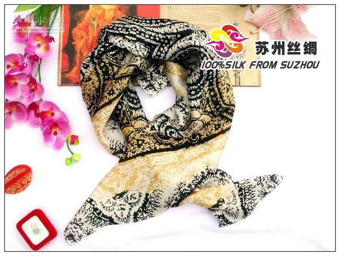 Cheap Wholesale -Large square silk scarf shawl Crepe Satin Plain silk scarf shawls df45